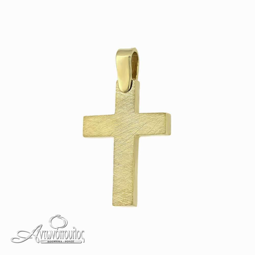 Σταύρος Χρυσός Σαγρέ 14 Καράτια -arg458