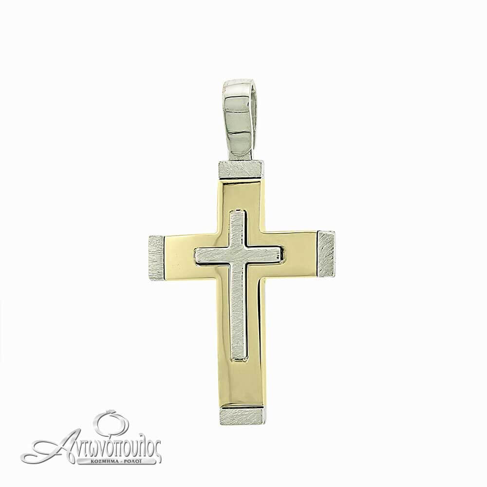 Σταύρος βαφτιστικός χρυσός λευκόχρυσο 14 καράτια-argw219