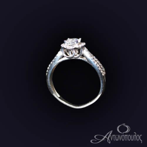 Μονοπετρο Δαχτυλίδι Λευκόχρυσο Λουστρέ Ζιργκόν 14 καράτια ka015