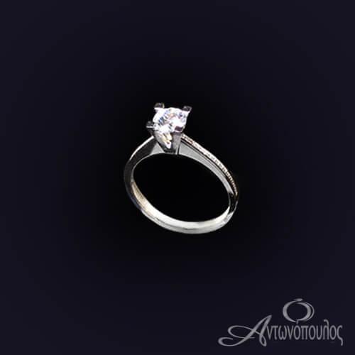 Μονόπετρο Δαχτυλίδι Λευκόχρυσο 14 Καράτια Ζιργκόν ka019