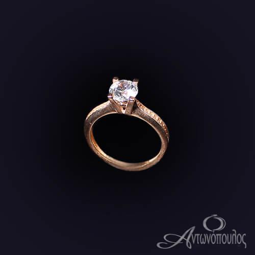 Μονόπετρο Δαχτυλίδι Ροζ Χρυσό 14 Καράτια Ζιργκόν ka020