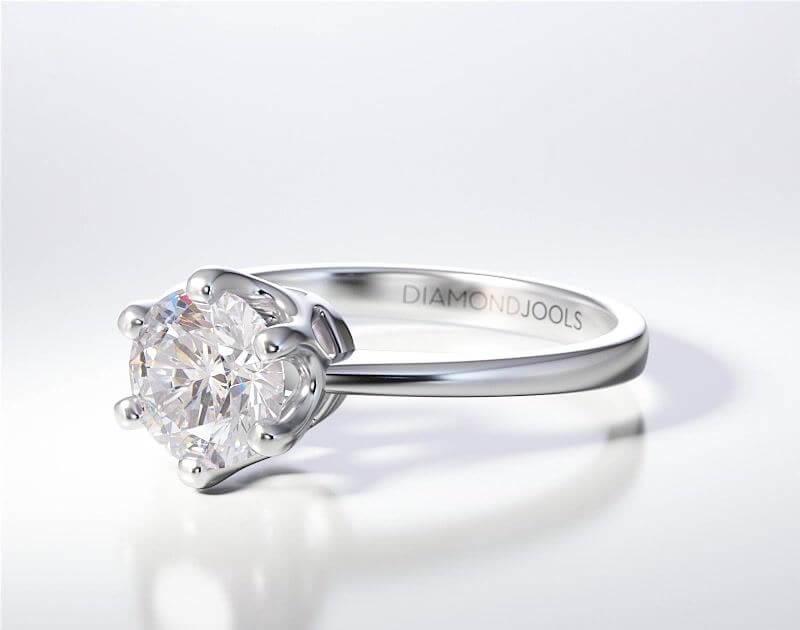 Δαχτυλίδι Μονόπετρο Λευκόχρυσο Κορώνα 18 Καράτια Brilliant dj002