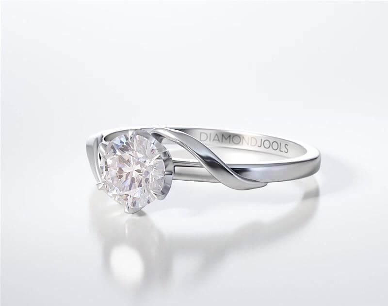 Δαχτυλίδι Μονόπετρο Diamond Jools Λευκόχρυσο 18K Brilliant 0.30ct F VVS2 - dj006