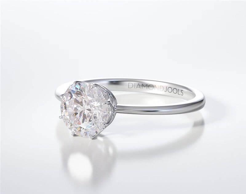 Μονόπετρο Δαχτυλίδι Diamond Jools Λευκόχρυσο 18 Καράτια με Διαμάντι Brilliant F VS1 - dj021