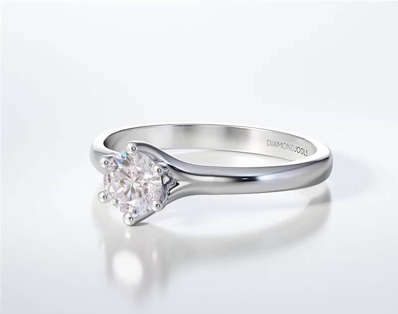 Μονόπετρο Δαχτυλίδι Diamond Jools Λευκόχρυσο 18 Καράτια με Διαμάντι Brilliant F VS2 - dj012