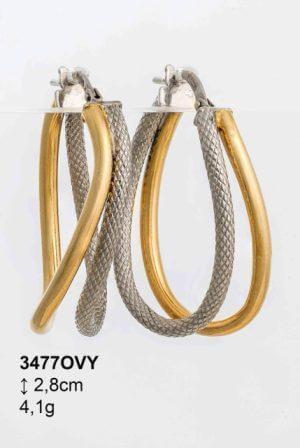 Σκουλαρίκια Ασημένια Δίχρωμα - lu3477OVY