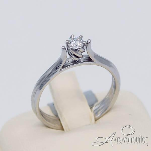 Δαχτυλίδι Μονόπετρο Λευκόχρυσο 18 Καράτια με πέτρα Brilliant 0.14ct - rn038