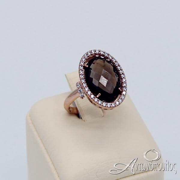 Δαχτυλίδι Ροζ Χρυσό 14Κ Coffee Topaz & Zircon - rg003