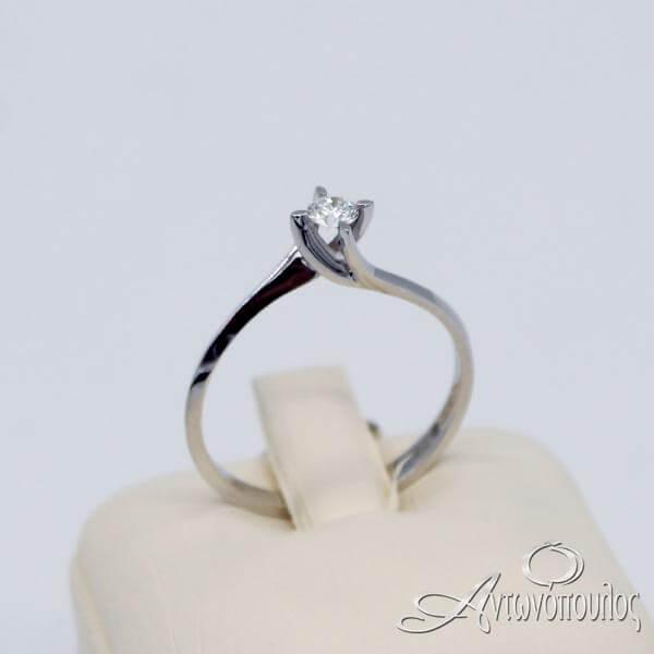 Δαχτυλίδι Μονόπετρο Λευκόχρυσο 18Κ με Brilliant - rn037