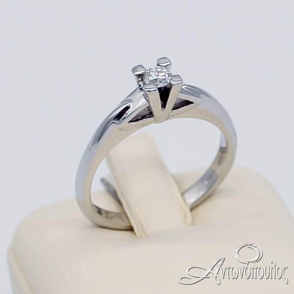 Δαχτυλίδι Μονόπετρο Λευκόχρυσο 18 Καράτια Brilliant - rn034