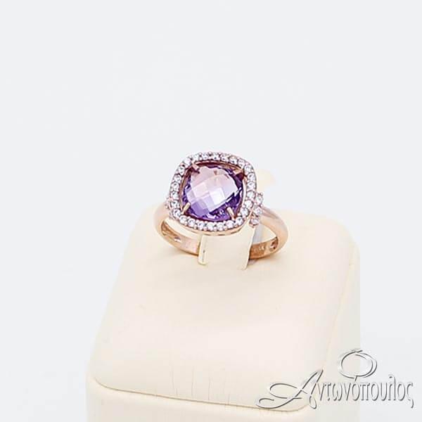 Δαχτυλίδι Ροζ Χρυσό 14Κ με Αμέθυστο & Ζιργκόν - rgn001
