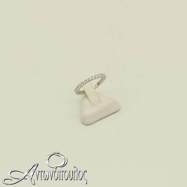 Δαχτυλίδι Ασημένιο με πέτρες Ζιργκόν σε σειρά - rs3285
