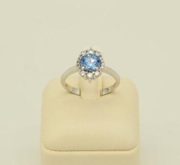 Δαχτυλίδι Λευκόχρυσο 14Κ με Μπλε Τοπάζι & Ζιρκόν - rn059