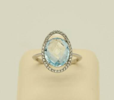 Δαχτυλίδι Λευκόχρυσο 14Κ Blue Topaz & Zircon - rn057