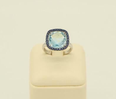 Δαχτυλίδι Λευκόχρυσο 14Κ Blue Topaz & Zirgon - rn058