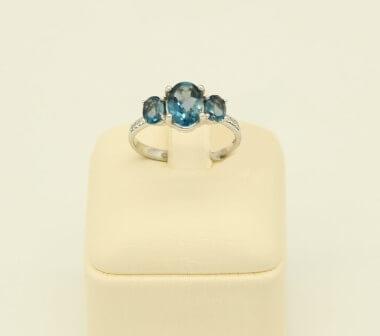Δαχτυλίδι Λευκόχρυσο 14Κ London Blue Topaz & Zirgon - rn060