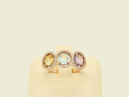 Δαχτυλίδι Ροζ Χρυσό 14Κ Multi με Ζιργκόν - gr057