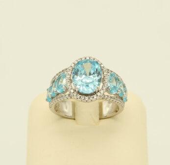 Ασημένιο Δαχτυλίδι με Γαλάζια Ζιργκόν - sr004