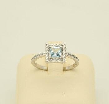 Δαχτυλίδι Λευκόχρυσο 14Κ με Aquamarine & Zircon - rn061