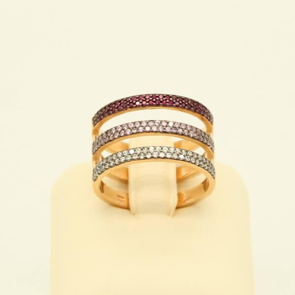 Ασημένιο Δαχτυλίδι, Ροζ Επιχρύσωση & Ζιργκόν - sr014