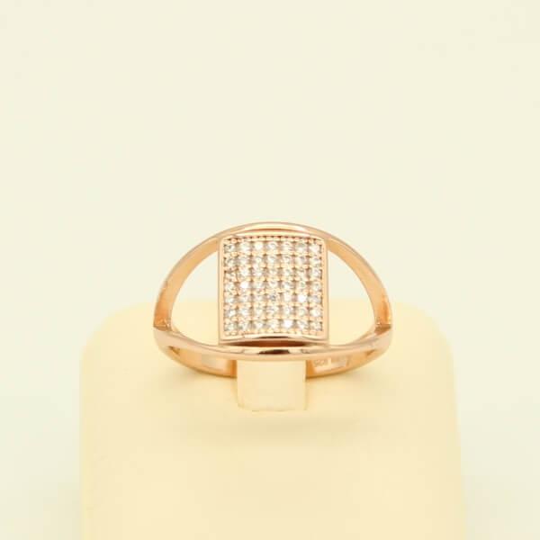 Δαχτυλίδι Ασημένιο, Ροζ Επιχρύσωση & Ζιργκόν - sr015
