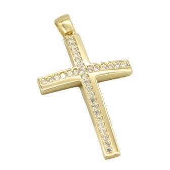 Σταυρός Χρυσός 14Κ Διπλής Όψης με Ζιργκόν πέτρες - la014